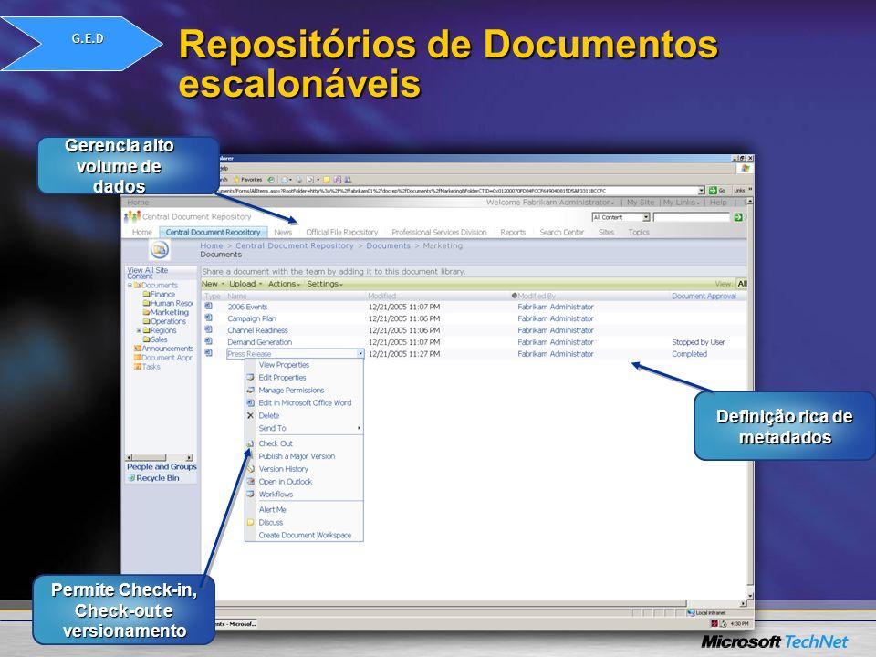 Repositórios de Documentos escalonáveis Permite Check-in, Check-out e versionamento Gerencia alto volume de dados Definição rica de metadados G.E.D
