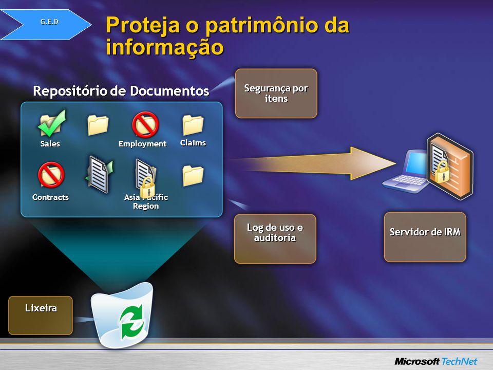 Repositório de Documentos Sales Asia Pacific Region Employment Claims Proteja o patrimônio da informação Contracts Lixeira Segurança por itens Log de