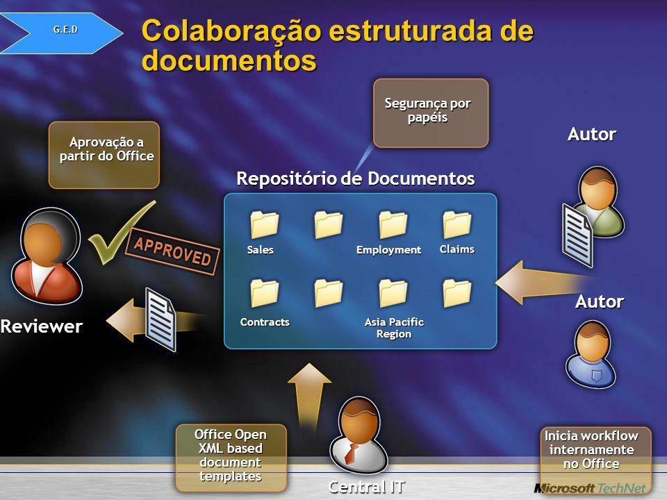 Colaboração estruturada de documentos Autor Reviewer Autor Aprovação a partir do Office Inicia workflow internamente no Office Repositório de Document