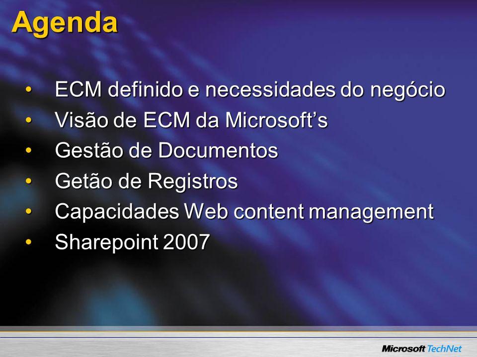 Agenda ECM definido e necessidades do negócioECM definido e necessidades do negócio Visão de ECM da MicrosoftsVisão de ECM da Microsofts Gestão de Doc