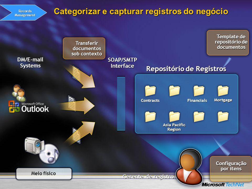 Gerente de registro Repositório de Registros Contracts Contracts Asia Pacific Region Financials Mortgage Categorizar e capturar registros do negócio C