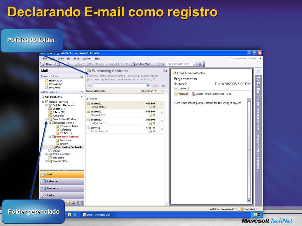 Declarando E-mail como registro Folder gerenciado Política do folder