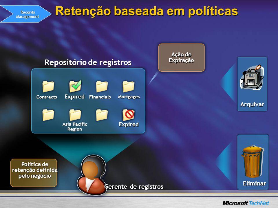 Gerente de registros Retenção baseada em políticas Repositório de registros Contracts Asia Pacific Region Financials Mortgages Ação de Expiração Polít