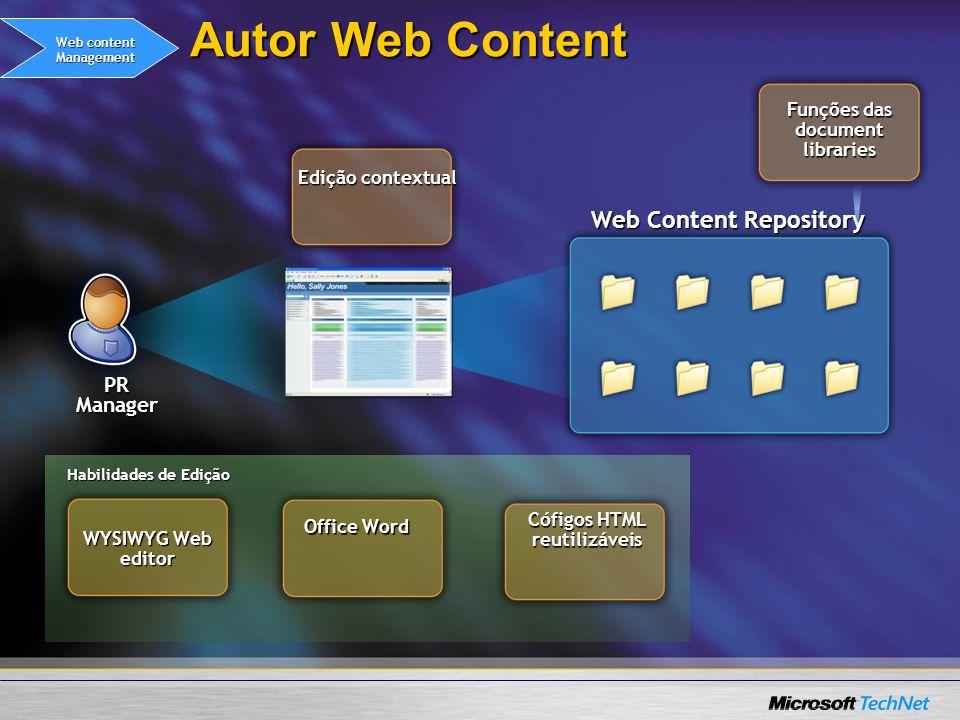 Web Content Repository Autor Web Content Funções das document libraries Edição contextual Office Word Cófigos HTML reutilizáveis PR Manager WYSIWYG We