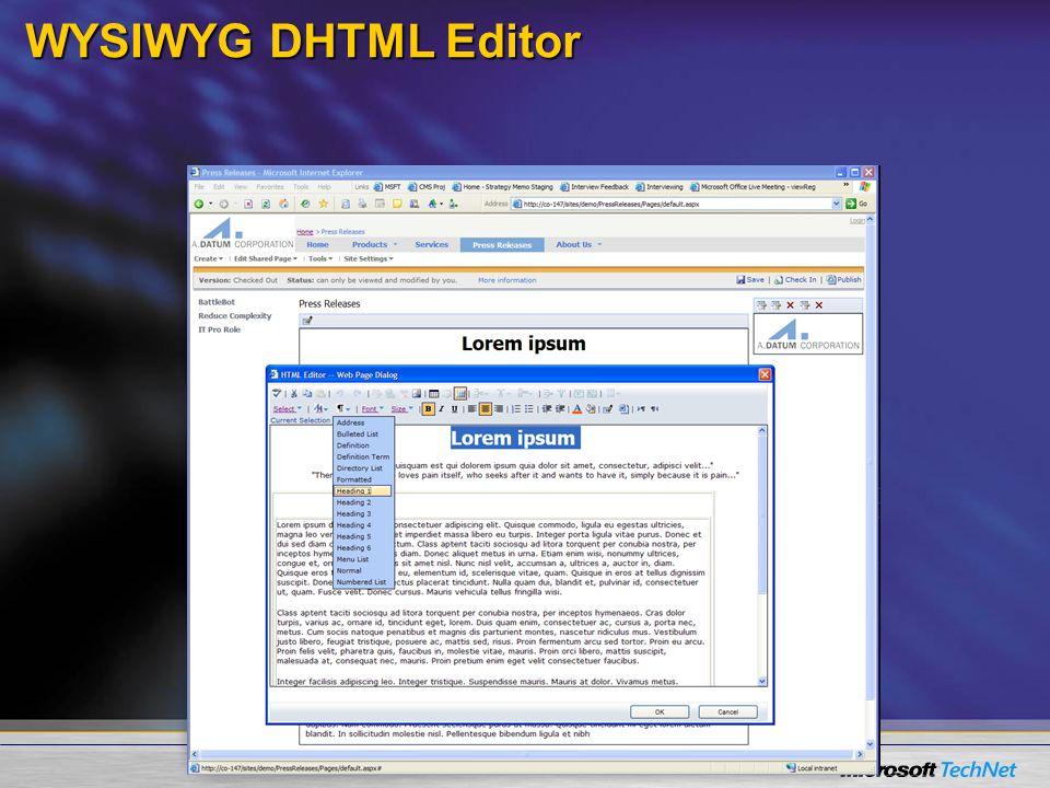 WYSIWYG DHTML Editor