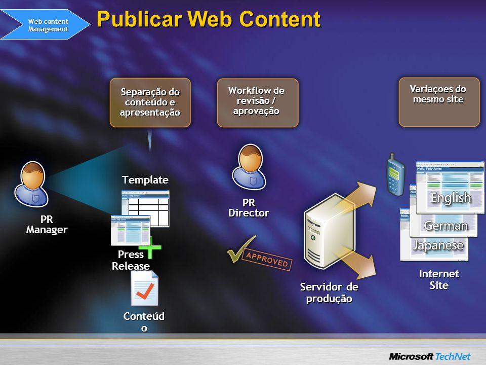 PR Director Workflow de revisão / aprovação Publicar Web Content Conteúd o Template Press Release Separação do conteúdo e apresentação Servidor de pro