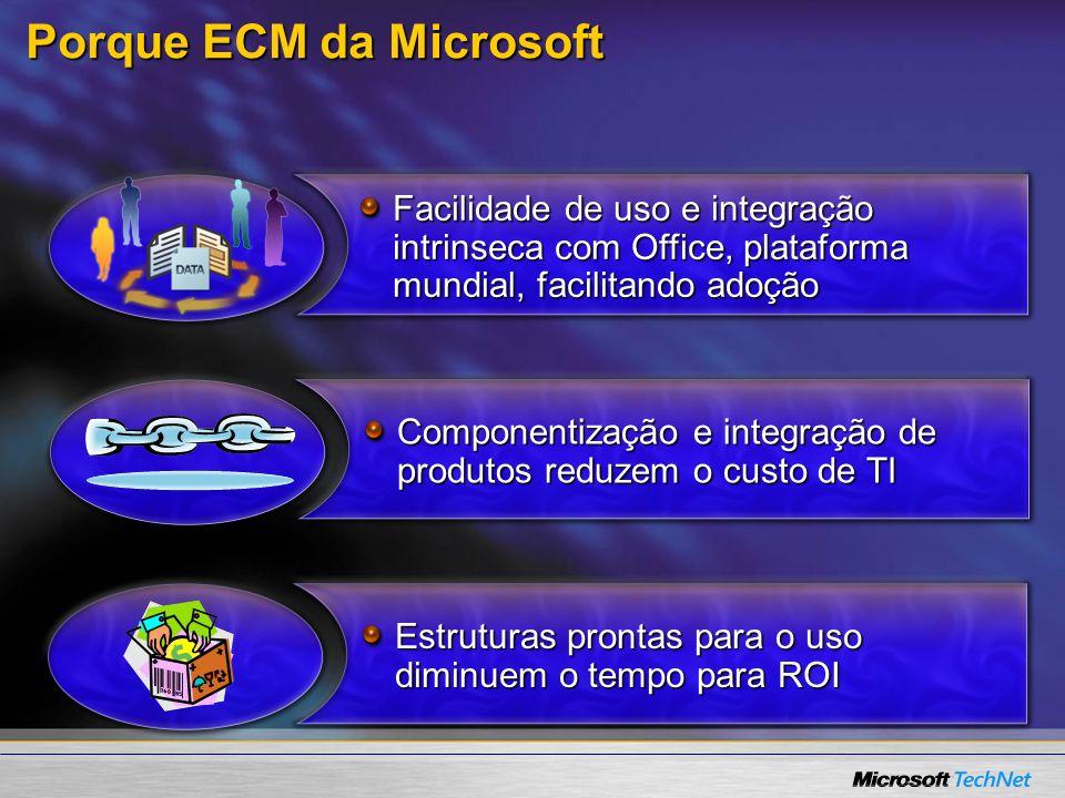 Porque ECM da Microsoft Facilidade de uso e integração intrinseca com Office, plataforma mundial, facilitando adoção Componentização e integração de p
