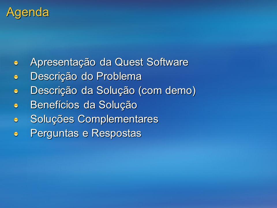 Agenda Apresentação da Quest Software Descrição do Problema Descrição da Solução (com demo) Benefícios da Solução Soluções Complementares Perguntas e Respostas