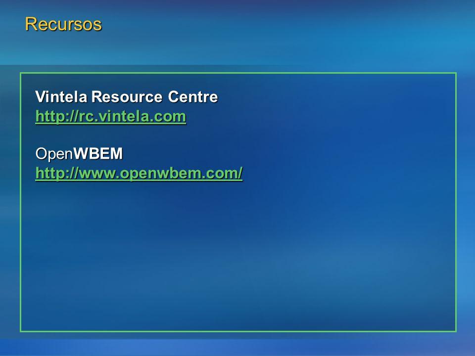 Recursos Vintela Resource Centre http://rc.vintela.com OpenWBEM http://www.openwbem.com/