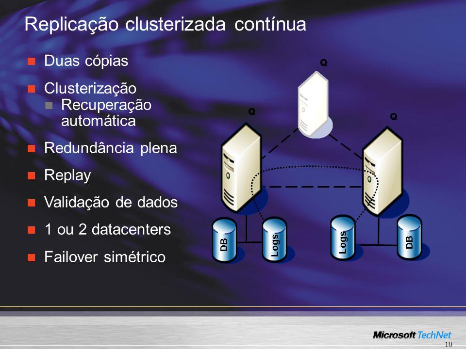 Replicação clusterizada contínua Q Q Q DB Logs DB Duas cópias Clusterização Recuperação automática Redundância plena Replay Validação de dados 1 ou 2 datacenters Failover simétrico 10