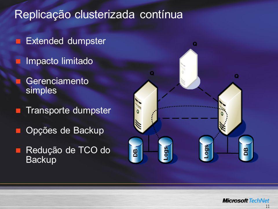 Replicação clusterizada contínua Q Q Q DB Logs DB Extended dumpster Impacto limitado Gerenciamento simples Transporte dumpster Opções de Backup Redução de TCO do Backup 11