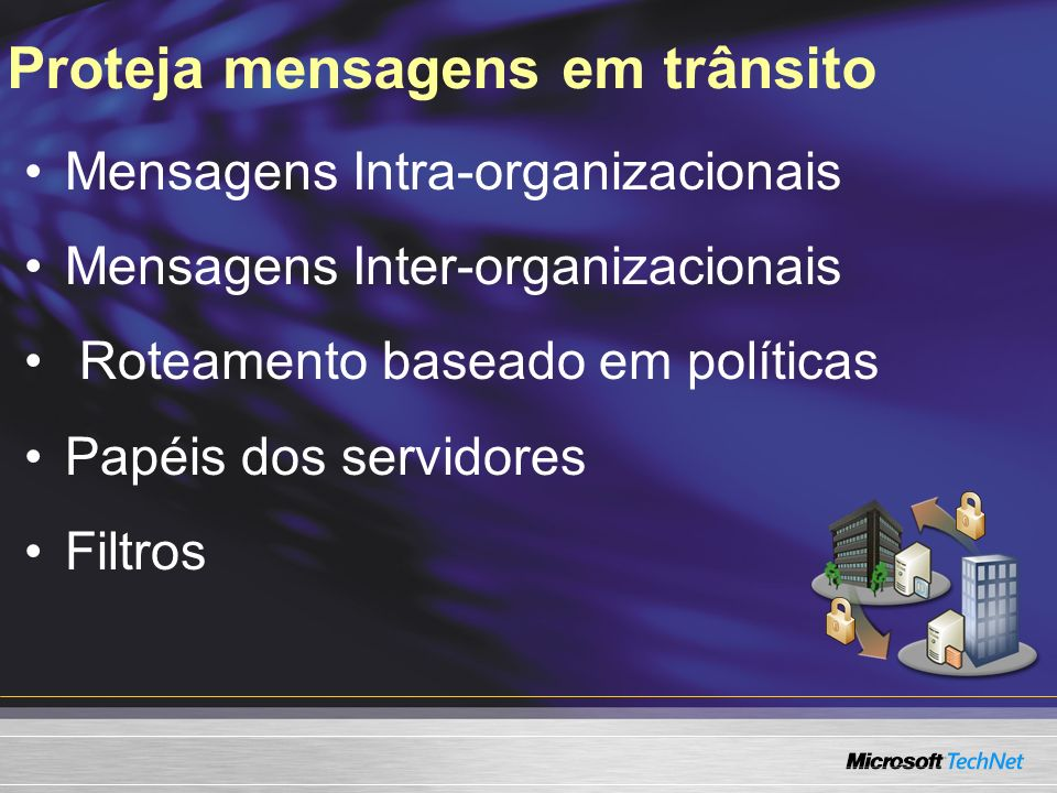Proteja mensagens em trânsito Mensagens Intra-organizacionais Mensagens Inter-organizacionais Roteamento baseado em políticas Papéis dos servidores Filtros
