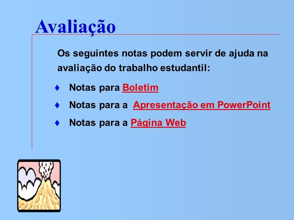 Avaliação Notas para BoletimBoletim Notas para a Apresentação em PowerPointApresentação em PowerPoint Notas para a Página WebPágina Web Os seguintes n