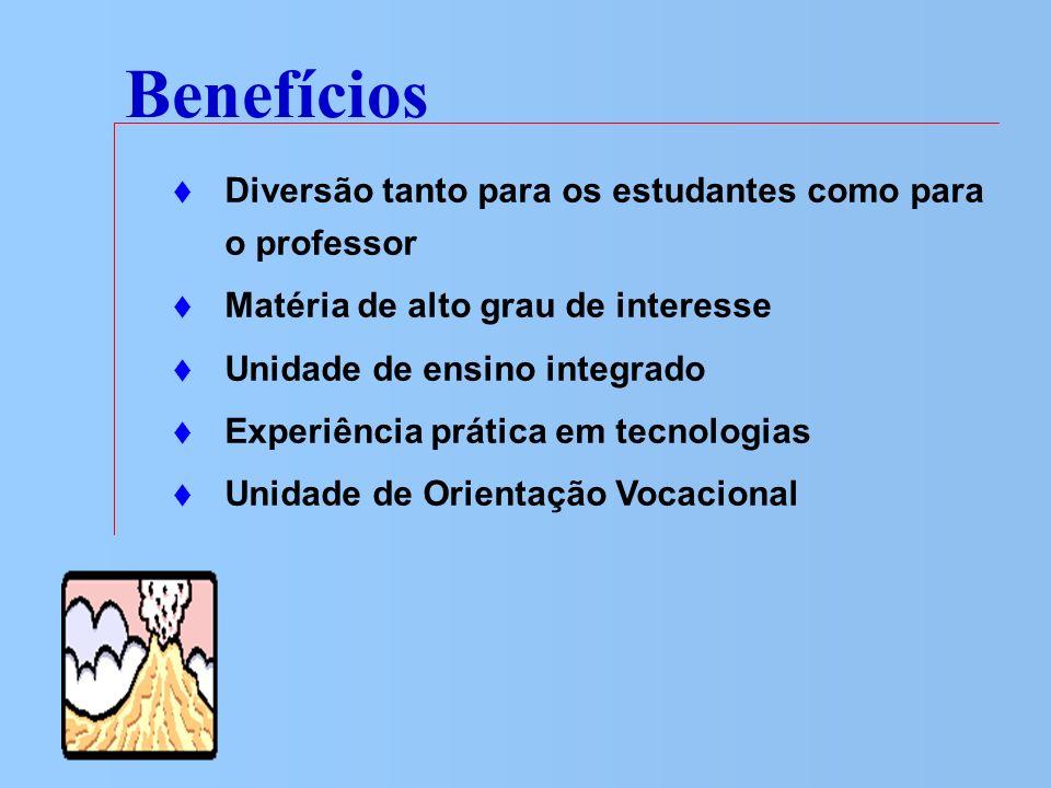Benefícios Diversão tanto para os estudantes como para o professor Matéria de alto grau de interesse Unidade de ensino integrado Experiência prática e