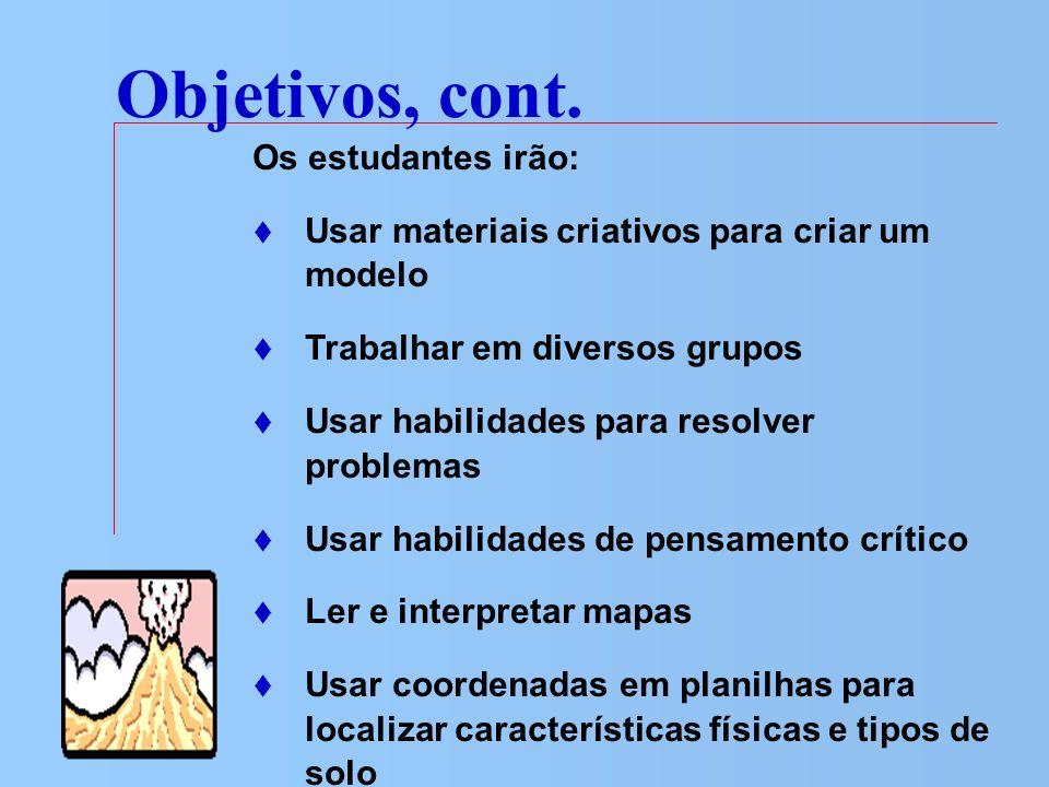Objetivos, cont. Os estudantes irão: Usar materiais criativos para criar um modelo Trabalhar em diversos grupos Usar habilidades para resolver problem