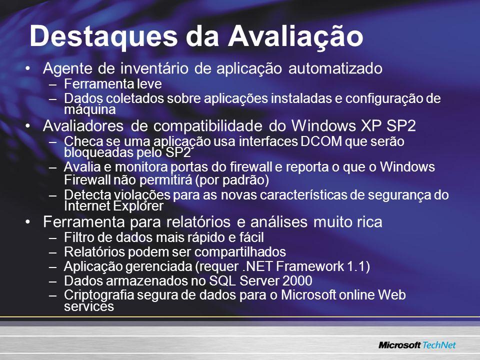 Destaques da Avaliação Agente de inventário de aplicação automatizado –Ferramenta leve –Dados coletados sobre aplicações instaladas e configuração de