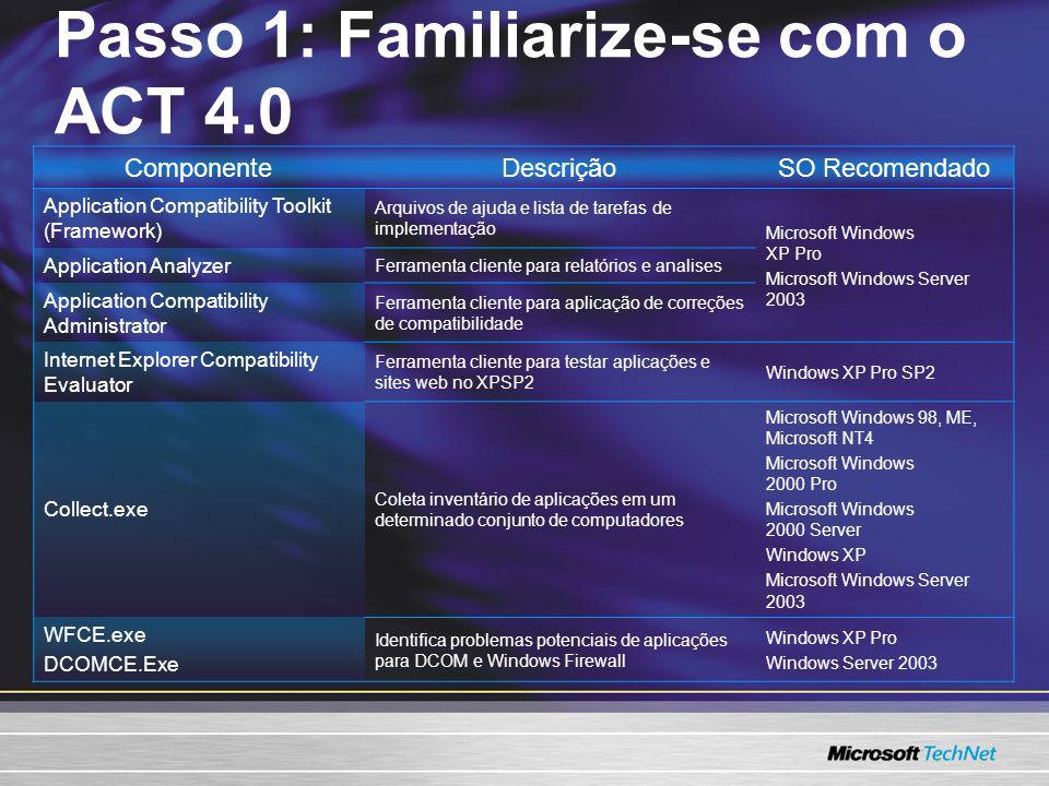 ComponenteDescriçãoSO Recomendado Application Compatibility Toolkit (Framework) Arquivos de ajuda e lista de tarefas de implementação Microsoft Window