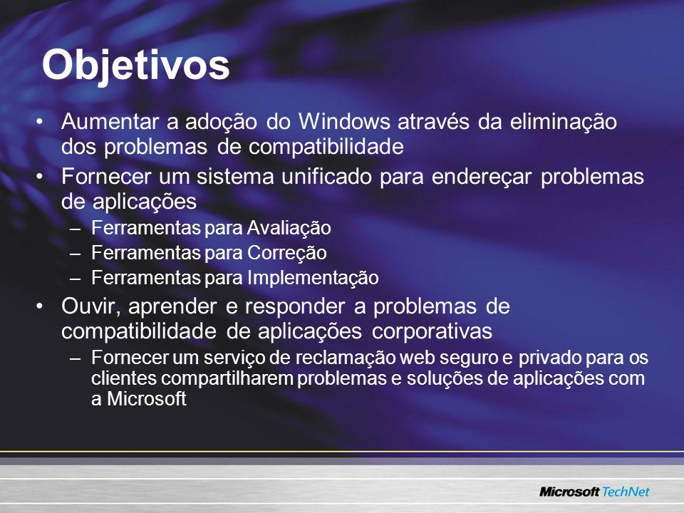 Objetivos Aumentar a adoção do Windows através da eliminação dos problemas de compatibilidade Fornecer um sistema unificado para endereçar problemas d