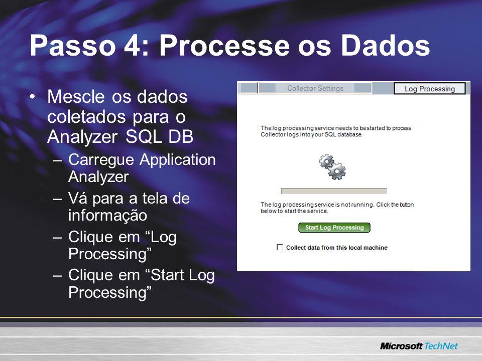 Passo 4: Processe os Dados Mescle os dados coletados para o Analyzer SQL DB –Carregue Application Analyzer –Vá para a tela de informação –Clique em Log Processing –Clique em Start Log Processing