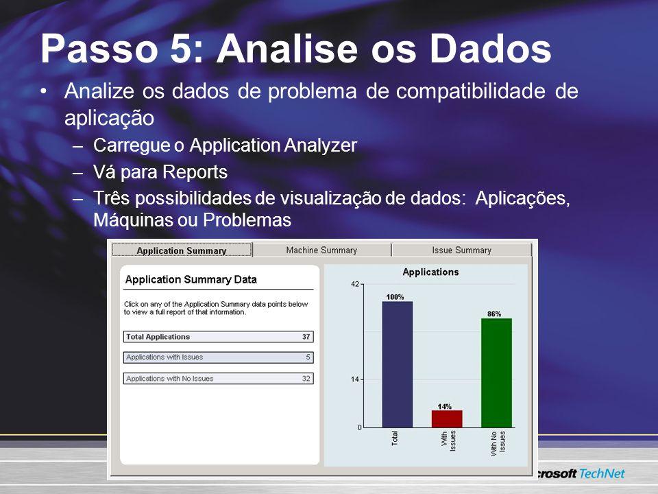 Passo 5: Analise os Dados Analize os dados de problema de compatibilidade de aplicação –Carregue o Application Analyzer –Vá para Reports –Três possibilidades de visualização de dados: Aplicações, Máquinas ou Problemas