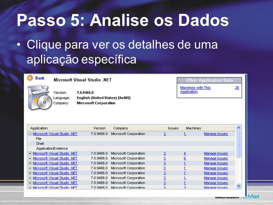 Clique para ver os detalhes de uma aplicação específica Passo 5: Analise os Dados