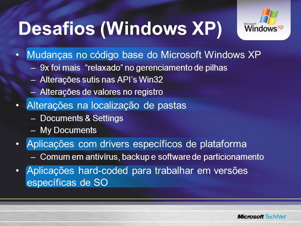 Desafios (Windows XP) Mudanças no código base do Microsoft Windows XP –9x foi mais relaxado no gerenciamento de pilhas –Alterações sutis nas APIs Win32 –Alterações de valores no registro Alterações na localização de pastas –Documents & Settings –My Documents Aplicações com drivers específicos de plataforma –Comum em antivírus, backup e software de particionamento Aplicações hard-coded para trabalhar em versões específicas de SO