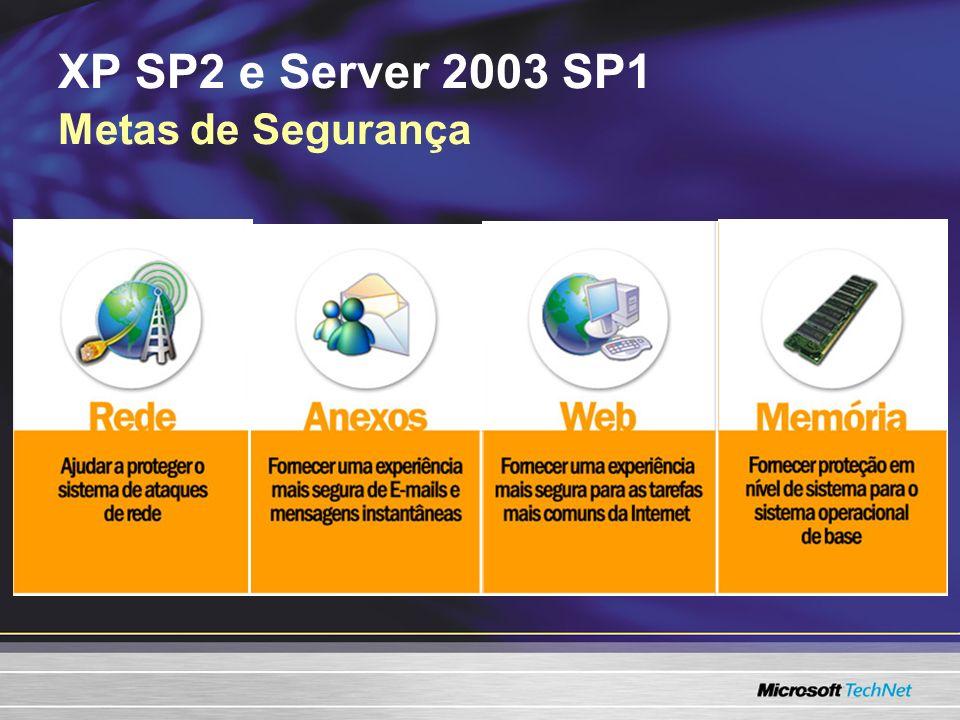 XP SP2 e Server 2003 SP1 Metas de Segurança
