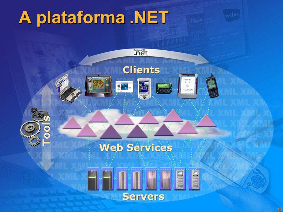 12 O que é o.NET? Uma plataforma de desenvolvimento: interfaces, componentes e ferramentas para desenvolver software. Uma plataforma de desenvolviment