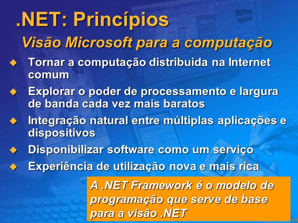 18 O software tem de permitir: O software tem de permitir: O Software será a base dos novos modelos de negócio Experiências de utilização de software