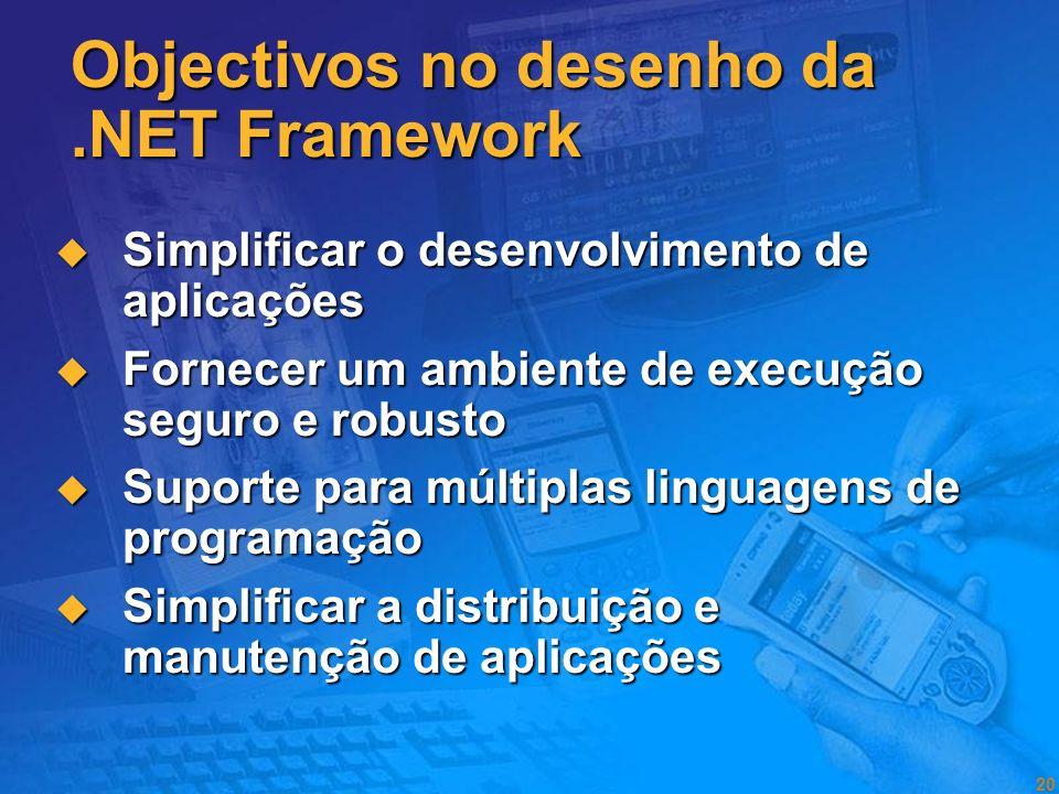 19 A.NET Framework é o modelo de programação que serve de base para a visão.NET.NET: Princípios Visão Microsoft para a computação Tornar a computação