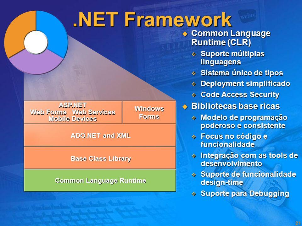 20 Objectivos no desenho da.NET Framework Simplificar o desenvolvimento de aplicações Simplificar o desenvolvimento de aplicações Fornecer um ambiente