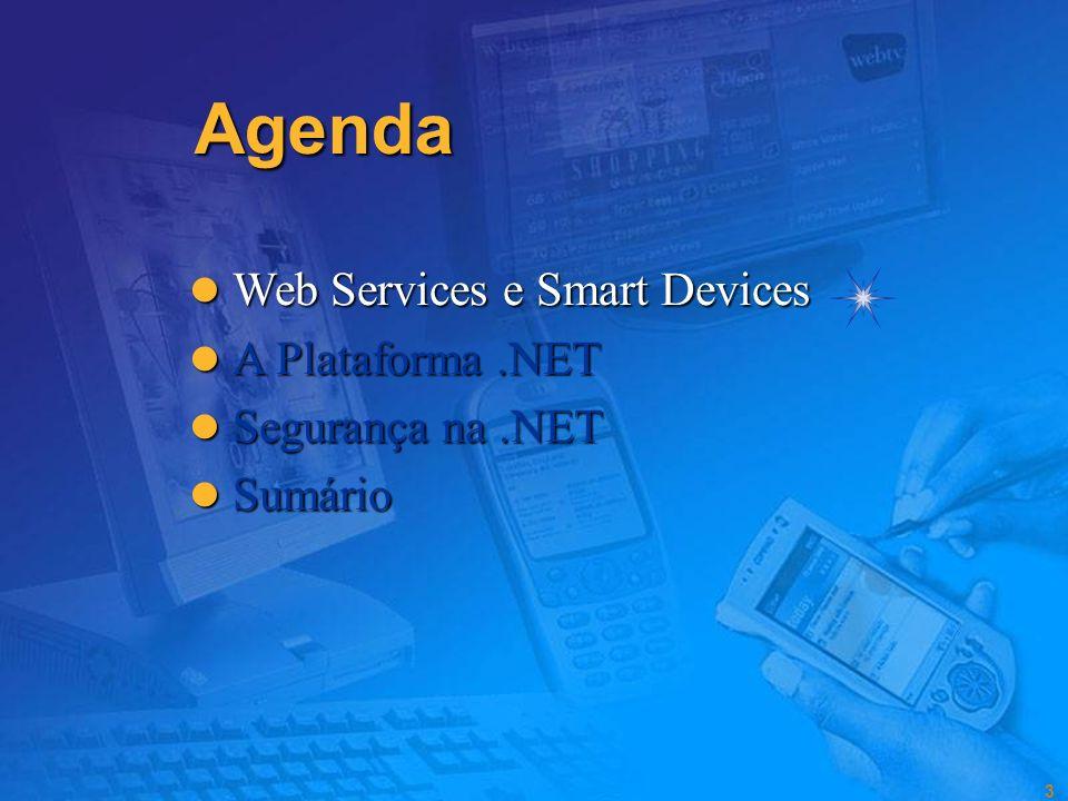 3 Agenda Web Services e Smart Devices Web Services e Smart Devices A Plataforma.NET A Plataforma.NET Segurança na.NET Segurança na.NET Sumário Sumário