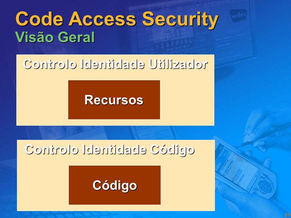 30 Segurança Code Access e Evidence Based Code Access e Evidence Based Segurança Role Based Segurança Role Based Boas práticas Boas práticas