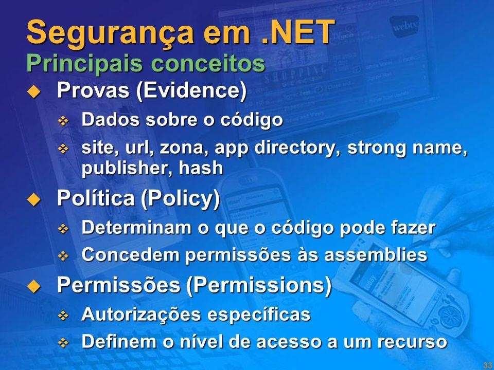 32 Code Access Security Visão Geral O código também ter identidade O código também ter identidade De acordo com as provas de identidade são atribuídas
