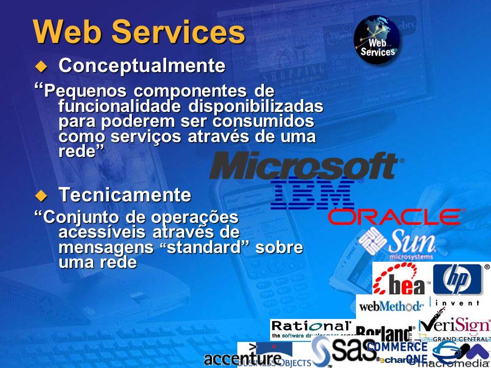7 Web Services Conceptualmente Conceptualmente Pequenos componentes de funcionalidade disponibilizadas para poderem ser consumidos como serviços através de uma rede Pequenos componentes de funcionalidade disponibilizadas para poderem ser consumidos como serviços através de uma rede Tecnicamente Tecnicamente Conjunto de operações acessíveis através de mensagens standard sobre uma rede