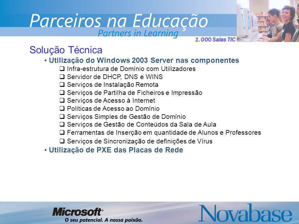 1.000 Salas TIC Solução Técnica Utilização do Windows 2003 Server nas componentes Infra-estrutura de Domínio com Utilizadores Servidor de DHCP, DNS e WINS Serviços de Instalação Remota Serviços de Partilha de Ficheiros e Impressão Serviços de Acesso à Internet Politicas de Acesso ao Domínio Serviços Simples de Gestão de Domínio Serviços de Gestão de Conteúdos da Sala de Aula Ferramentas de Inserção em quantidade de Alunos e Professores Serviços de Sincronização de definições de Vírus Utilização de PXE das Placas de Rede