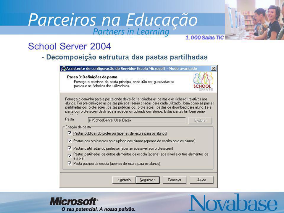 1.000 Salas TIC School Server 2004 Decomposição estrutura das pastas partilhadas