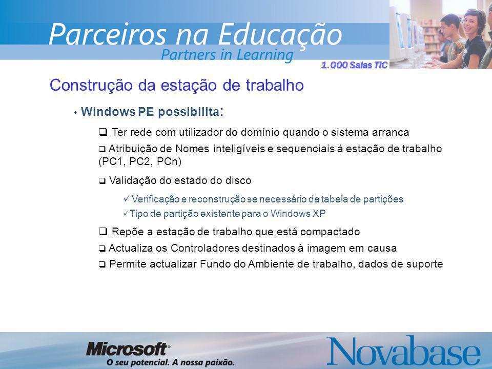 1.000 Salas TIC Construção da estação de trabalho Windows PE possibilita : Ter rede com utilizador do domínio quando o sistema arranca Atribuição de Nomes inteligíveis e sequenciais á estação de trabalho (PC1, PC2, PCn) Validação do estado do disco Verificação e reconstrução se necessário da tabela de partições Tipo de partição existente para o Windows XP Repõe a estação de trabalho que está compactado Actualiza os Controladores destinados à imagem em causa Permite actualizar Fundo do Ambiente de trabalho, dados de suporte