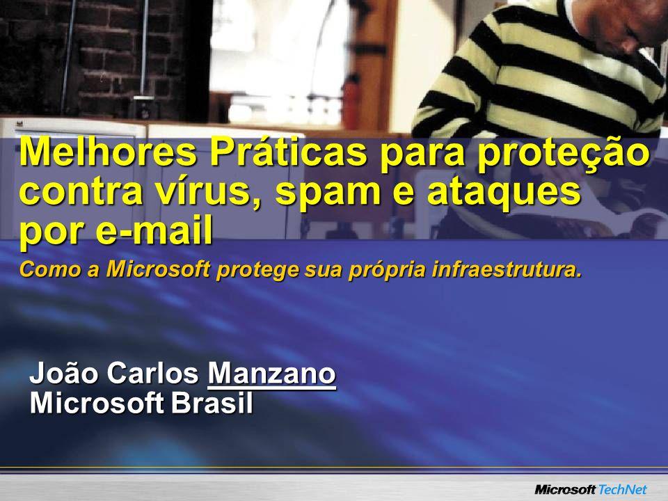 João Carlos Manzano Microsoft Brasil Melhores Práticas para proteção contra vírus, spam e ataques por e-mail Como a Microsoft protege sua própria infr