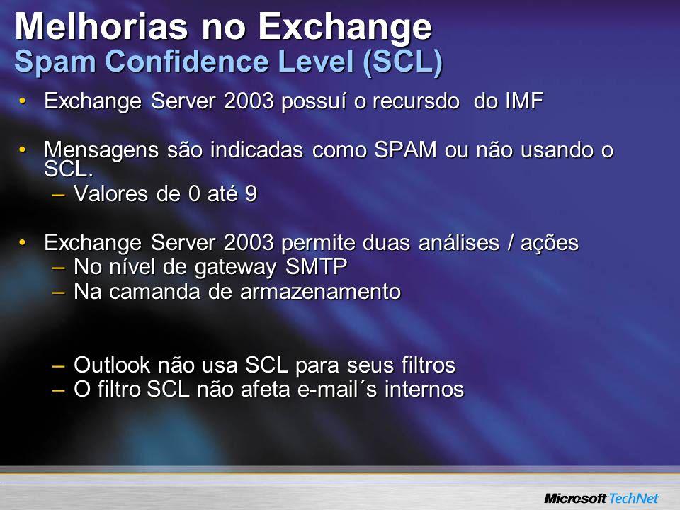 Melhorias no Exchange Spam Confidence Level (SCL) Exchange Server 2003 possuí o recursdo do IMFExchange Server 2003 possuí o recursdo do IMF Mensagens