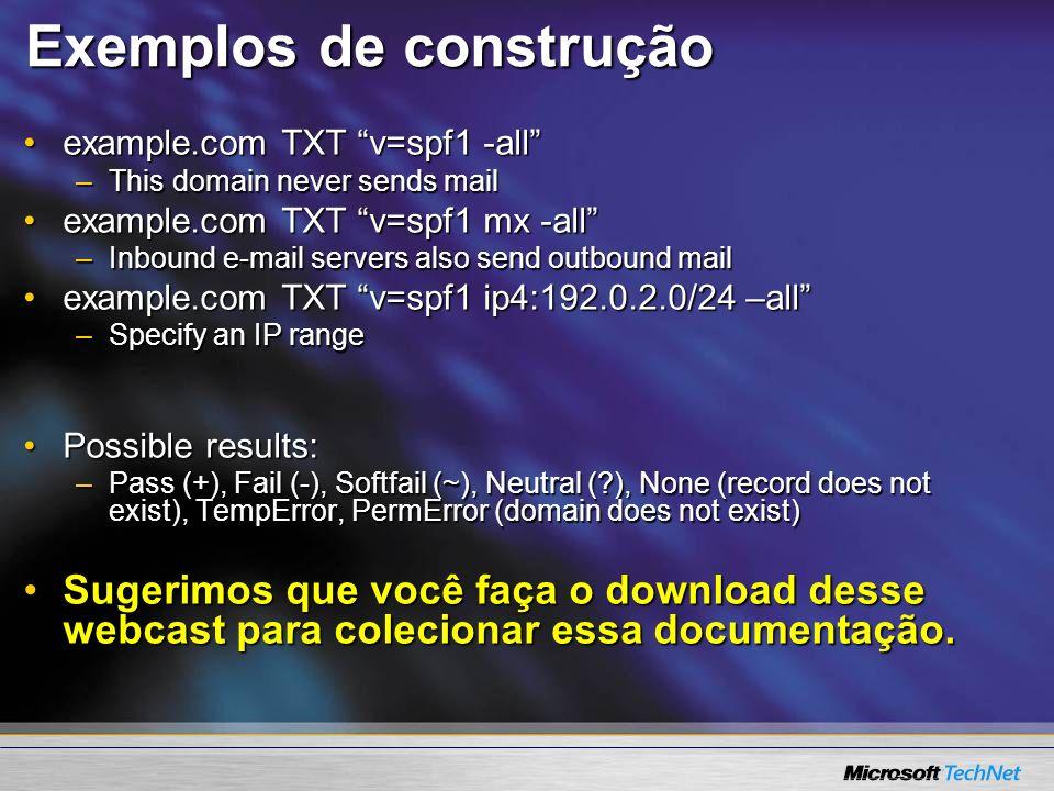 Exemplos de construção example.com TXT v=spf1 -allexample.com TXT v=spf1 -all –This domain never sends mail example.com TXT v=spf1 mx -allexample.com