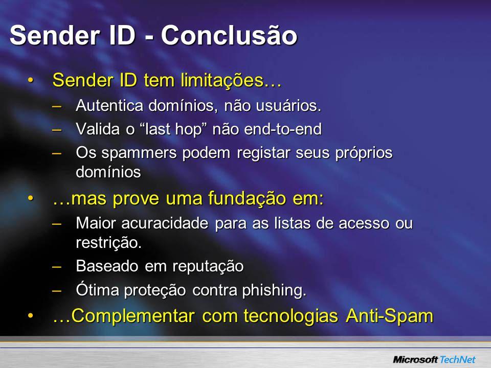 Sender ID - Conclusão Sender ID tem limitações…Sender ID tem limitações… –Autentica domínios, não usuários. –Valida o last hop não end-to-end –Os spam