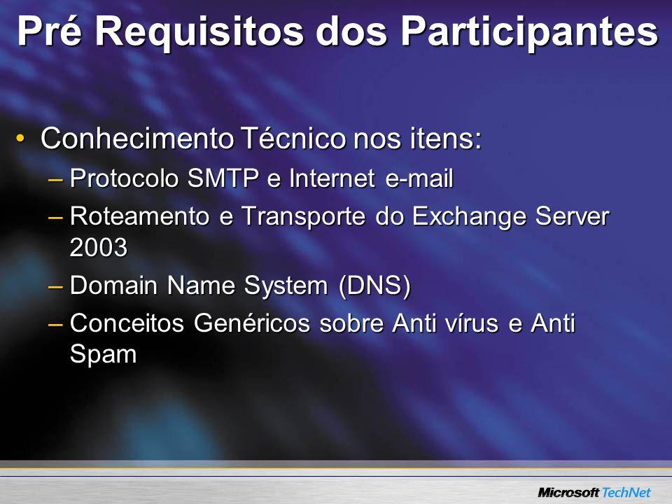 Pré Requisitos dos Participantes Conhecimento Técnico nos itens:Conhecimento Técnico nos itens: –Protocolo SMTP e Internet e-mail –Roteamento e Transp