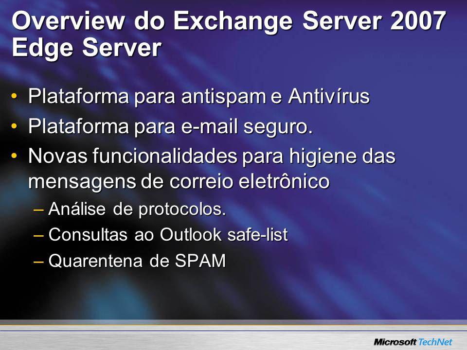 Overview do Exchange Server 2007 Edge Server Plataforma para antispam e AntivírusPlataforma para antispam e Antivírus Plataforma para e-mail seguro.Pl