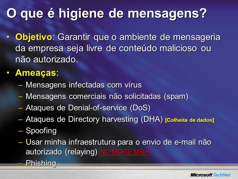 O que é higiene de mensagens? Objetivo: Garantir que o ambiente de mensageria da empresa seja livre de conteúdo malicioso ou não autorizado.Objetivo: