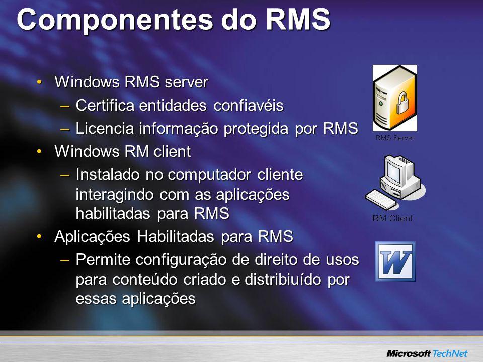 Componentes do RMS Windows RMS serverWindows RMS server –Certifica entidades confiavéis –Licencia informação protegida por RMS Windows RM clientWindow
