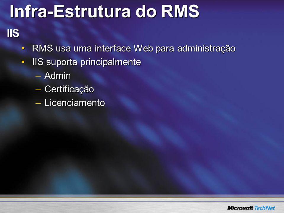IIS RMS usa uma interface Web para administraçãoRMS usa uma interface Web para administração IIS suporta principalmenteIIS suporta principalmente –Adm