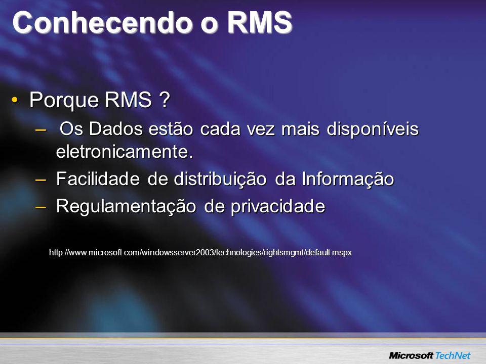 Conhecendo o RMS Porque RMS ?Porque RMS ? –Os Dados estão cada vez mais disponíveis eletronicamente. –Facilidade de distribuição da Informação –Regula
