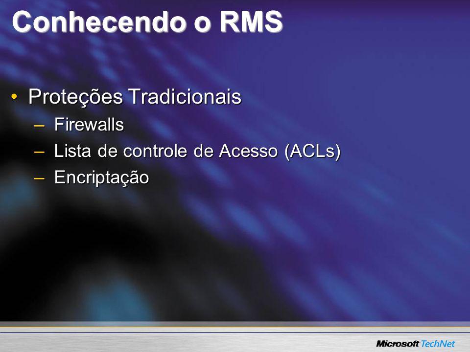 Conhecendo o RMS Proteções TradicionaisProteções Tradicionais –Firewalls –Lista de controle de Acesso (ACLs) –Encriptação