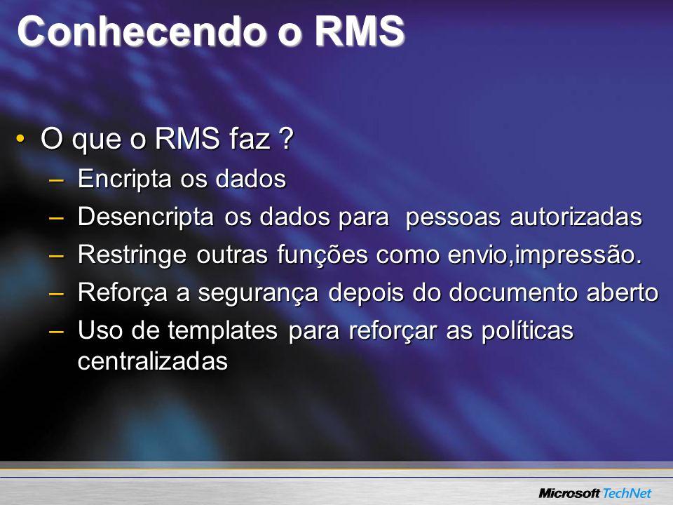 Conhecendo o RMS O que o RMS faz ?O que o RMS faz ? –Encripta os dados –Desencripta os dados para pessoas autorizadas –Restringe outras funções como e